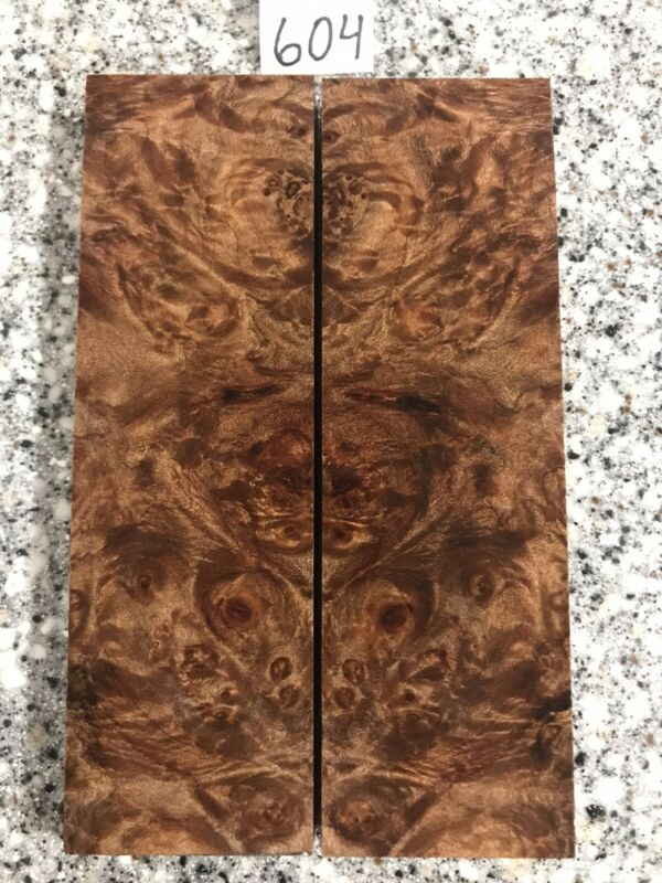 STABILIZED MAPLE BURL KNIFE SCALES HIGHLY FIGURED EXOTIC WOOD #604