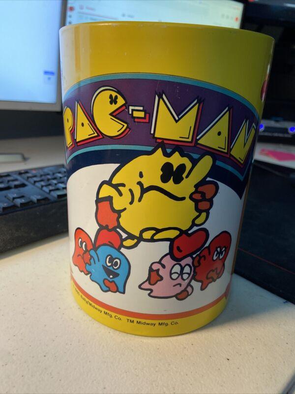 Vintage Pac-Man Metal Garbage Trash Can 1980 Bally Midway