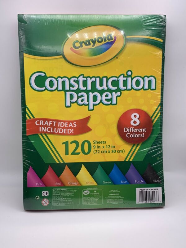 Crayola Construction Colored Craft Paper 8 Colors 120 Sheets Multi Purpose Kids