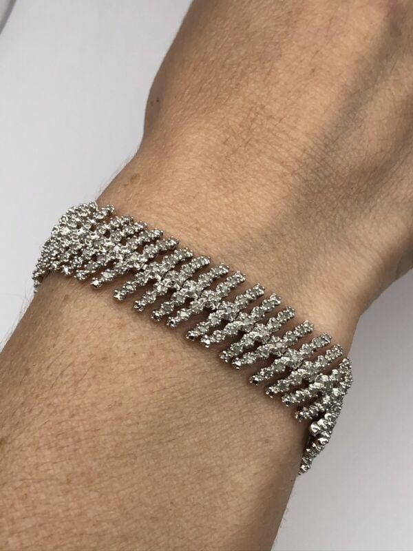 vintage 925 sterling silver DIAMOND Natural Bracelet