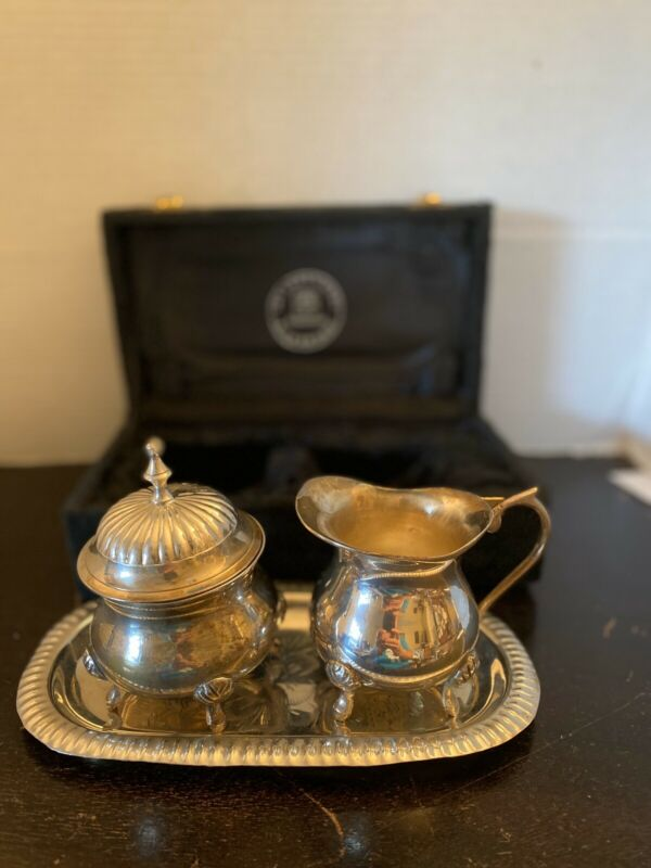 Vintage Silver Plated Creamer Sugar Bowl Tray & Box International Silver Co.