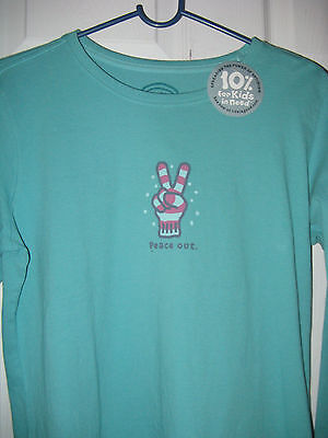 Peace Out Tee (Life is Good Peace Out peace sign Glove Snow women's L/S  tee shirt aqua blue)