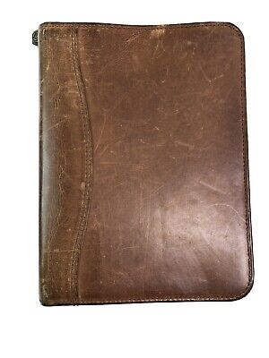 Franklin Covey Planner Brown Leather Binder Agenda Zippered 8x10