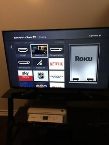 "50"" sharp ruko 1080p LED TV with 3 tier glass stand"