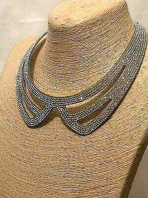 Womens Statement Silver Crystal Diamante Rhinestone Fake Shirt Collar Necklace