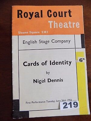 """ROYAL COURT THEATRE, London.  """"CARDS OF IDENTITY"""", June 26 1956 - WORLD PREMIERE"""