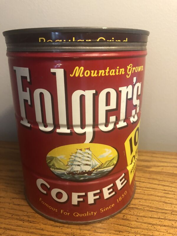 VINTAGE 1959 FOLGERS COFFEE CAN W/ NAUTICAL SHIP LOGO W/ LID NICE RARE