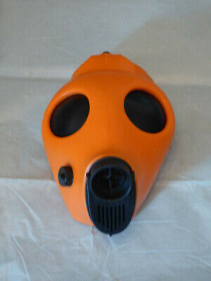 ORANGE Fetish Rubber Blindfold Gas Mask Gummi Bondage respirator black out Hood
