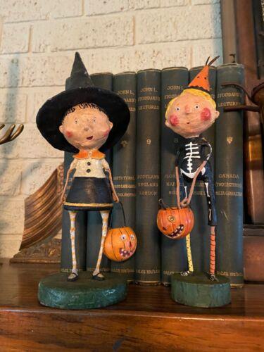 Adorable Pair Funny Bones & Witch Halloween Figurine