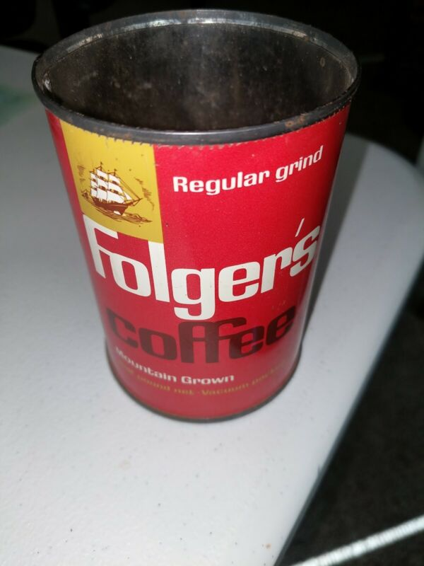 Vintage 1963 FOLGERS Coffee Tin Metal Can