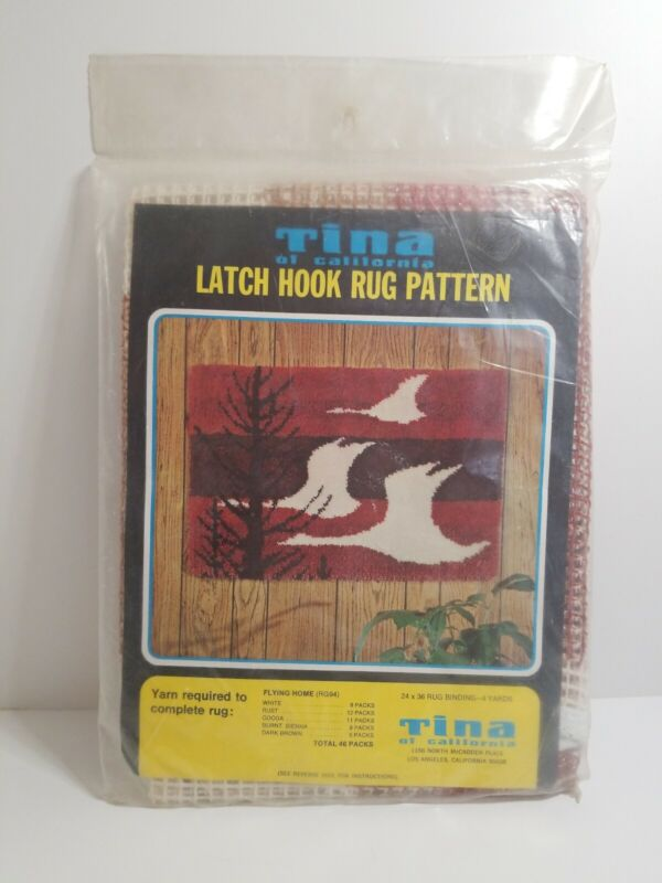 Vintage Tina Latch Hook Pattern Flying Home Geese Tree New Sealed
