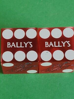 Bally's Las Vegas Casino Dice. (2 Dice Total) Color Red Frosted