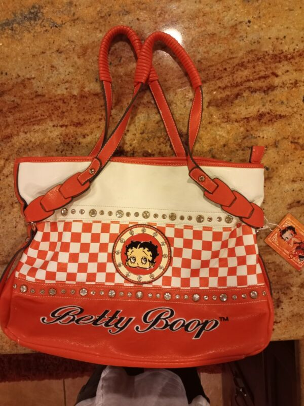 2012 Betty Boop Faux Leather orange Checkered 3-Compartment Shoulder Handbag