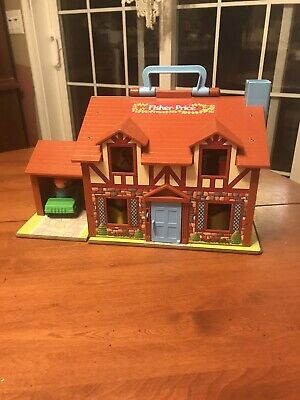 Vintage 1980s FISHER PRICE #952 Little People Play Brown Tudor House