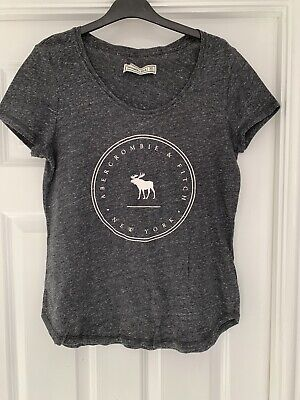 Womens Abercrombie And Fitch Grey Print Tee Shirt Size Medium