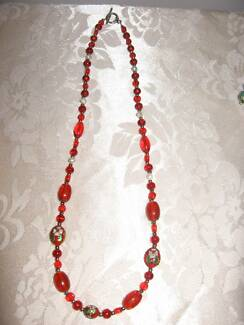 Handmade Red Glass and Mother of Pearl Necklace