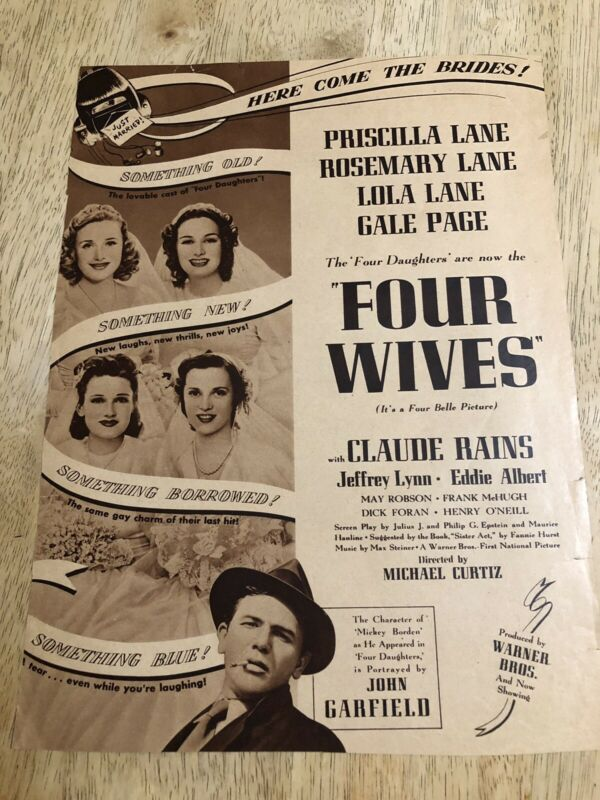FOUR WIVES Lane Sisters, John Garfield / BRENDA JOYCE - Vintage 1939 Magazine Ad
