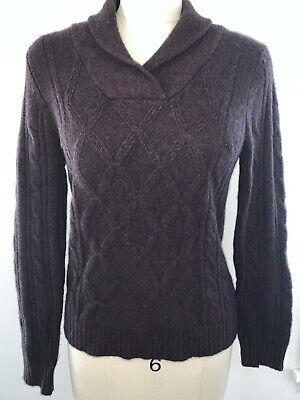 J. MCLAUGHLIN 100% Cashmere Brown Shawl Pullover V-Neck Sweater M