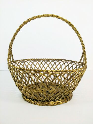 Vintage Brass Woven Easter Style Basket With Handle Heavy