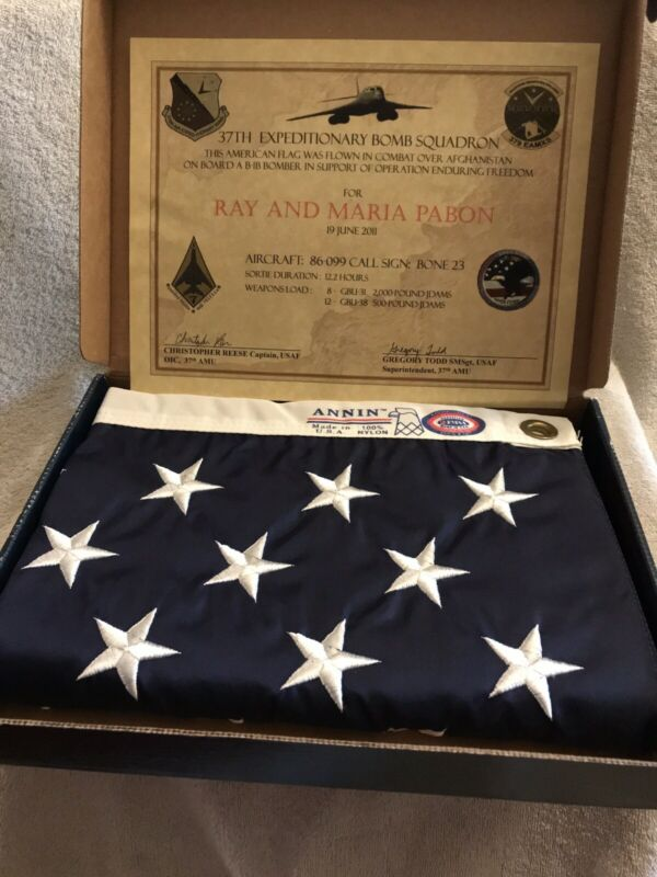 Annin United States 3' X 5' Flag Flown In Combat Over Afghanistan