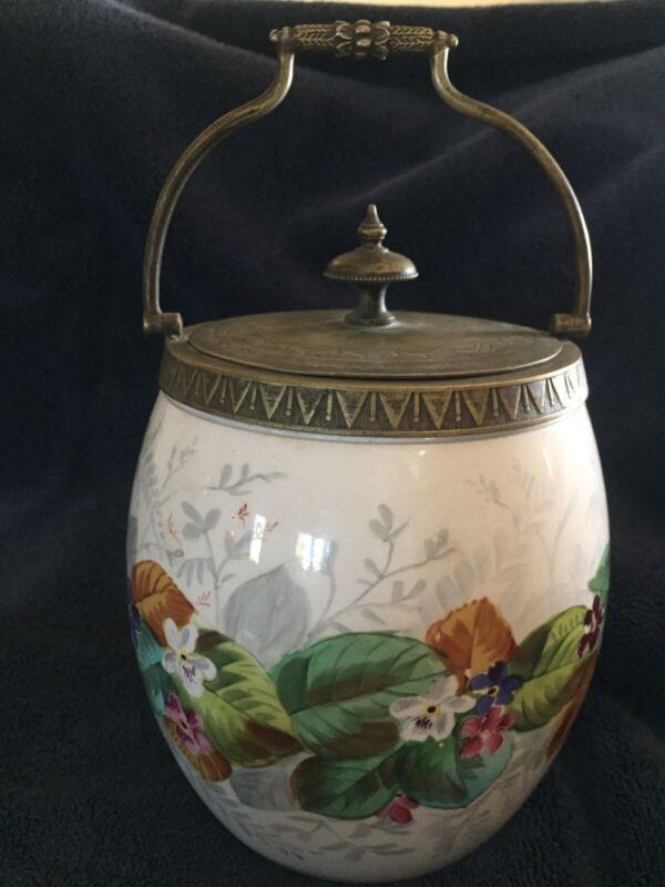 Hand painted Floral Porcelain English Biscuit Barrel Cracker Jar. Marked 640.