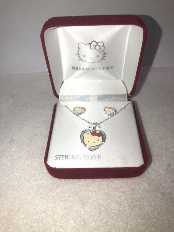 Hello Kitty Sterling Silver Necklace And Earring Set By Sanrio