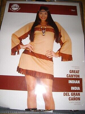 NEU: FIESTAS GUIRCA Sexy Kleid Kostüm INDIANERIN SQUAW Gr.L INDIAN GREAT CANYON