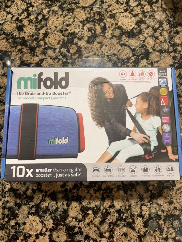 Mifold Grab-and-Go Booster Seat Denim Blue 40-100 Lbs Award winning & Compact
