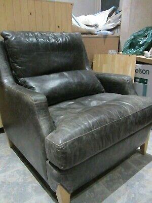 Wade Declan Mid Century Style Black Distressed look Leather Armchair