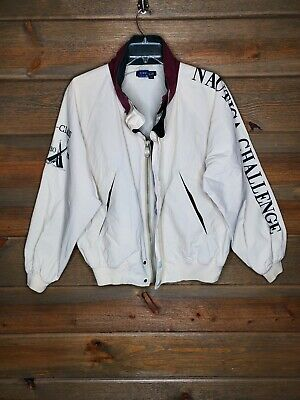 Nautica Challenge J Class Sailing Nautical Mens Large Jacket Maroon Green