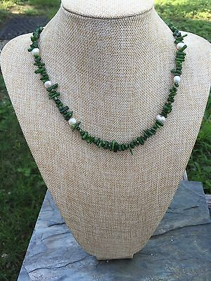 Handmade Necklace of Forest Green Coral Branches with White Freshwater Pearls Coral White Freshwater Pearls Necklace