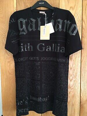 Mens John Galliano Gazette Newspaper Print Black Designer T Shirt  Top Medium M
