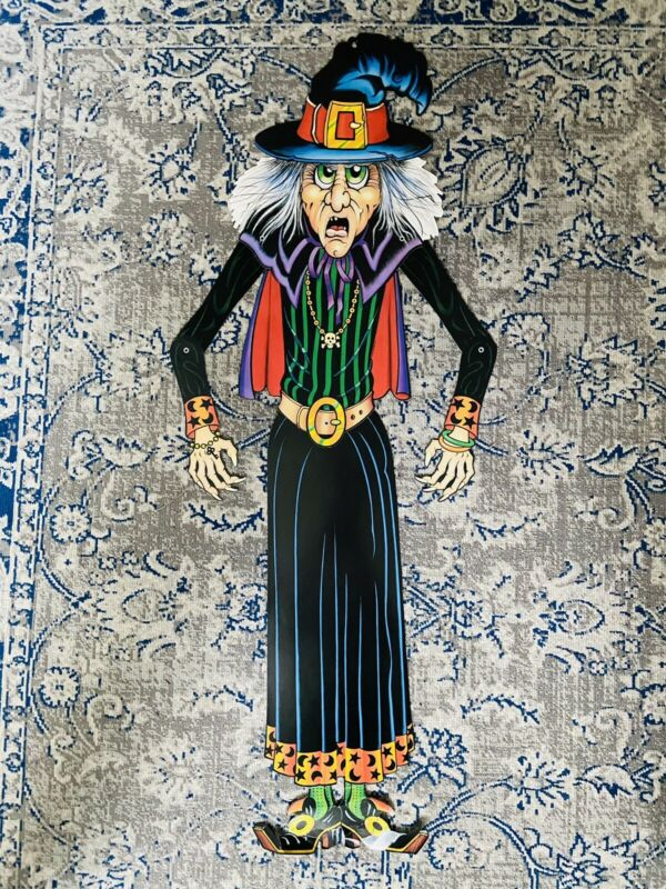 "40"" DENNISON Vintage Halloween Cardboard Diecut Moveable WITCH"