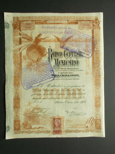 MEXICO: BANCO CENTRAL MEXICANO - Ps.1000- BROWN FIRST ISSUE 1903 - NOT CANCELLED