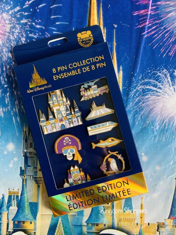 2021 Walt Disney World 50th Anniversary 8 Pin Collection Box Set LE 1500