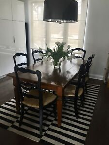 Elte dining chairs set - ladder back-wicker /rattan