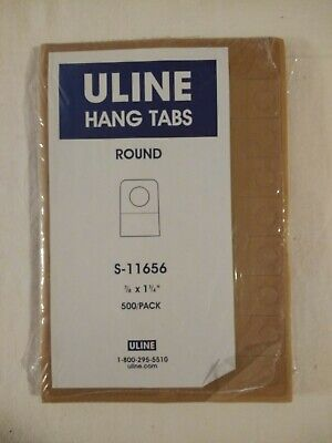 Uline Self Adhesive Round Clear Plastic Hang Tabs Tags Hangers Lot Of 468