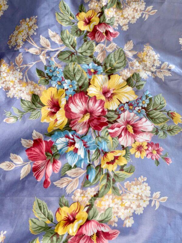 11 Yards! Barkcloth Era Vintage 40's Periwinkle Floral Drapery Fabric Listing #2