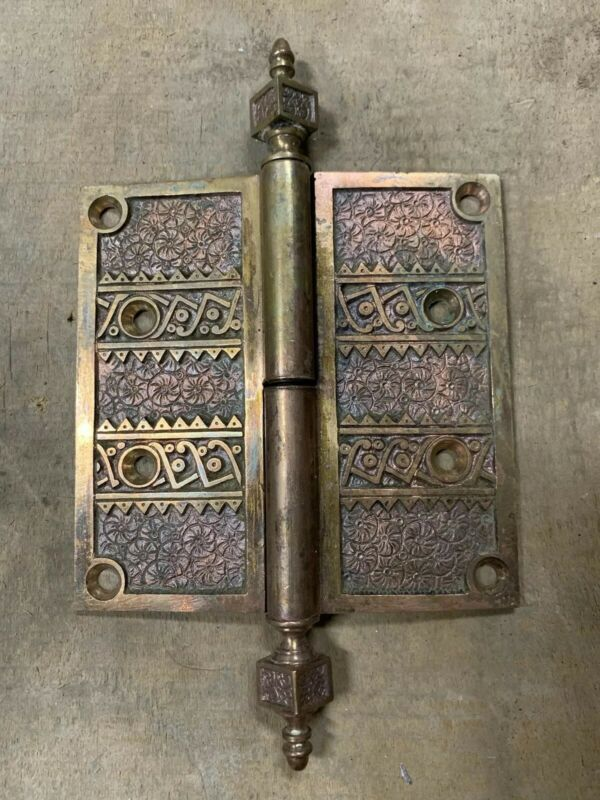 Rare Antique Victorian Ornate Brass Bronze Hinge Late 1800's
