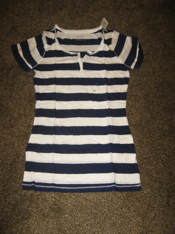 NWT Express Placket Pocket Rugby Stripe Navy and White Cotton T Shirt Xtra Small