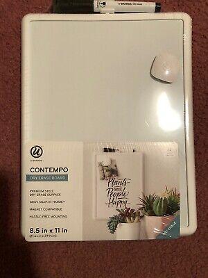U Brands Contempo Magnetic Dry Erase Board 8.5 X 11 Inches White Frame