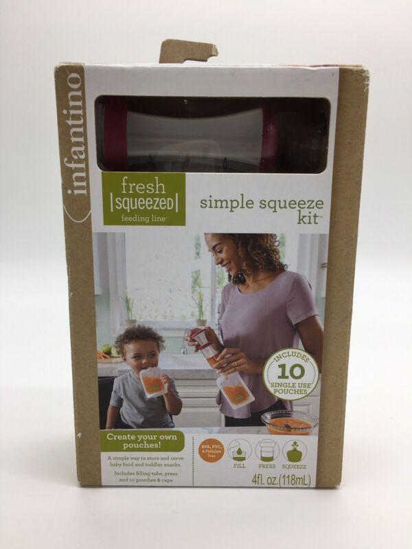 Infantino - Simple Squeeze Feeding Kit - Filling Tube, Press & 10 Pouches - NIB