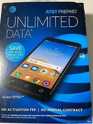 """Alcatel Tetra AT&T Prepaid Cell Phone  5"""" Screen 16GB Android Oreo Stealth Black"""
