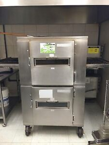 Double stack conveyor pizza ovens