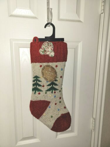 TREE with DOTS Red Cuff  Aspen Knit Christmas Stocking NWT
