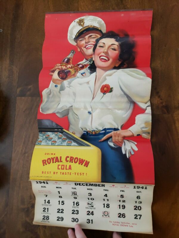 VINTAGE WWII 1941 ROYAL CROWN COLA ADVERTISING WALL HANGING CALENDAR COMPLETE