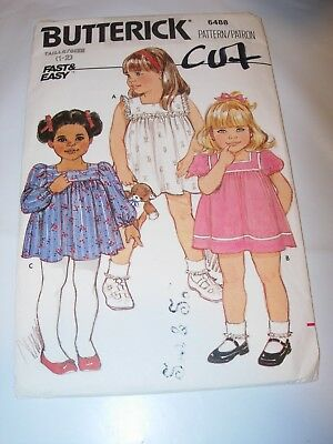 GIRLS TODDLER CUT BUTTERICK Sewing Pattern 6488 DRESS A-LINE ZIPPER SIZE 1 2 Toddler Line Dress Pattern