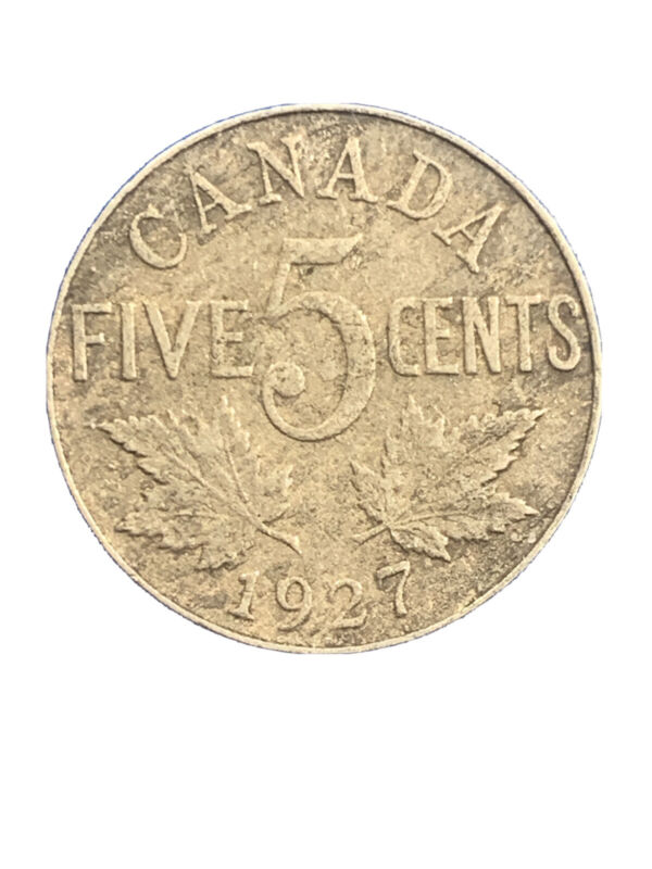 CANADA 1927 5 CENTS Coin 🇨🇦 Canadian Nickel King George V KM#29*2185