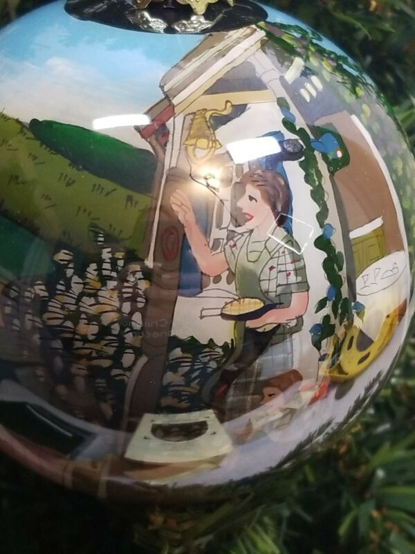 John Deere hand-painted glass ball Christmas tree ornament 2nd in Series
