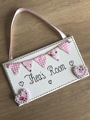 Wooden Personalised Name Plaque Girls Bedroom Nursery Door Sign Pink Hearts Gift